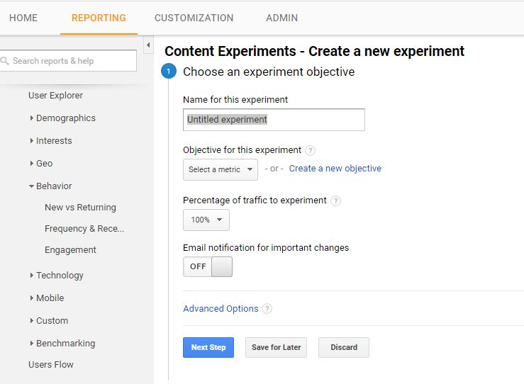 image showing a free option for ab testing wordpress, google content experiements