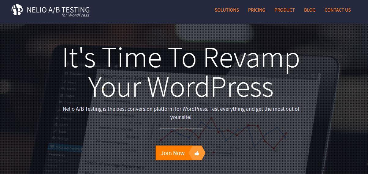 image showing the homepage of nelio, a wordpress split testing plugin